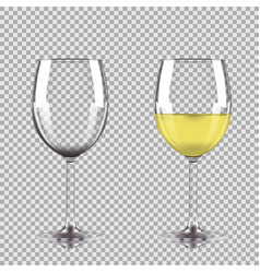 glass of white wine and empty glass vector image