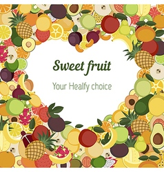 Heart with different fruit icons vector image vector image