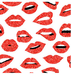 red glitter girl mouth seamless pattern background vector image vector image