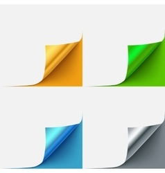 Set of colorful curled paper corners vector