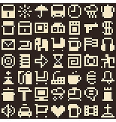 Set of pixel objects Seamless background vector image vector image