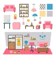 Baby kids room interior set vector image