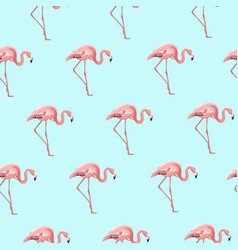 exotic pink flamingo bird on blue seamless pattern vector image vector image