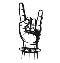 heavy metal hand gesture with spiked bracelet vector image