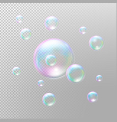 Transparent soap bubbles Realistic soap bubbles vector image