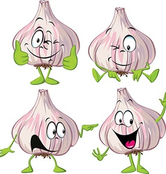 garlic cartoon with hands and legs standing vector image