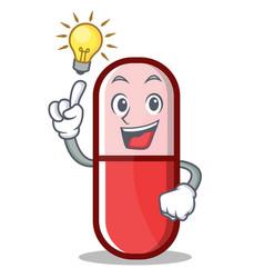 have an idea pill capsule cartoon character vector image