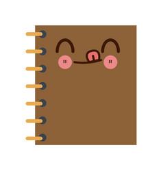 kawaii notebook spiral study writing element vector image vector image