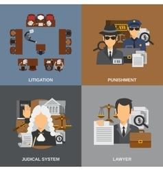 Law Flat Set vector image