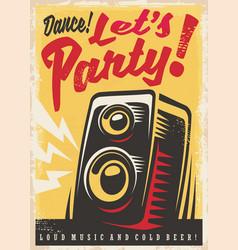 party invitation retro poster design vector image vector image