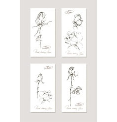 Sketch floral set Hand drawn of vector image