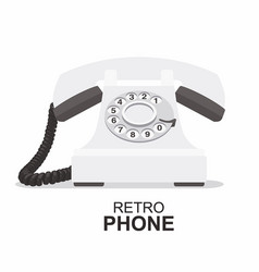 white vintage telephone isolated on white vector image vector image