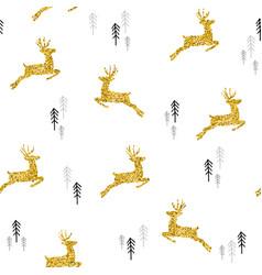 Christmas gold glitter deer xmas seamless pattern vector