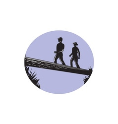 Hikers Crossing Single Log Bridge Oval Woodcut vector image