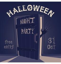 Open door on halloween night party vector image