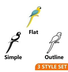 Parrot icons set vector image