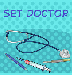 pop art comic style set of medical objects vector image vector image