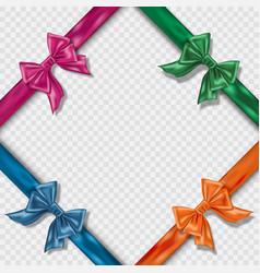 set of realistic colorful satin bows and ribbons vector image
