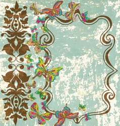 vintage floral ornament with butterflies vector image vector image