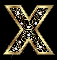 X gold letter with swirly ornaments vector image