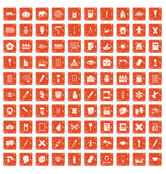 100 paint school icons set grunge orange vector