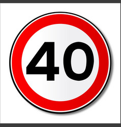 40 mph limit traffic sign vector