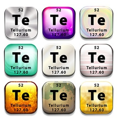 A button with the chemical element tellurium vector