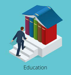A man climbs the stairs to knowledge books are vector