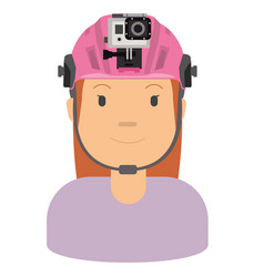 a woman wearing helmet and action camera to vector image