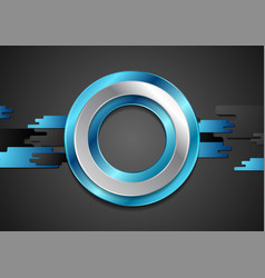 abstract blue black glossy tech geometric vector image