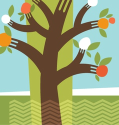 abstract fruit tree fork branches vector image