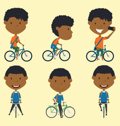 african american school boys on the bikes vector image