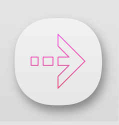 Arrow with dotted dash line app icon east vector