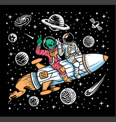 Astronaut and alien ride on rockets vector