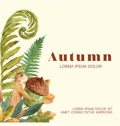 Autumn season frame with leaves and animal vector