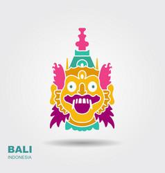 Barong traditional ritual balinese mask flat vector