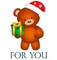 Bear with Christmas present vector
