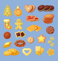 biscuits snacks bakery products flat vector image