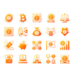Bitcoin simple gradient icons set vector