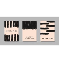 Black brush strokes pastel pink greeting cards set vector