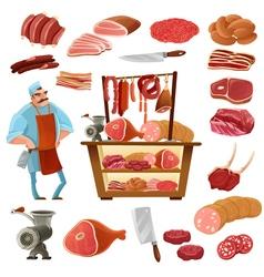 Butcher Cartoon Set vector
