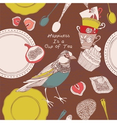 Card with cups bird and sweets vector image