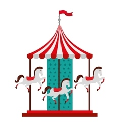 carousel horses isolated icon design vector image
