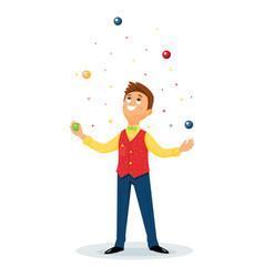 cartoon juggler performs a circus trick vector image