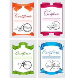 Certificate set color icons vector image