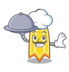 Chef with food swim fin mascot cartoon vector