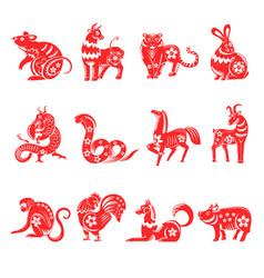 chinese horoscope twelve animals signs vector image