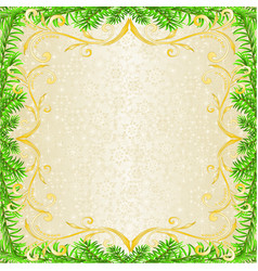 christmas and new year decoration frame golden vector image