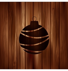 Christmas ball icon Wooden background vector image