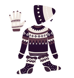 Christmas patterns on knitwear winter clothes vector